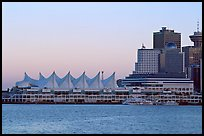 Canada Place and skyline at dusk. Vancouver, British Columbia, Canada (color)