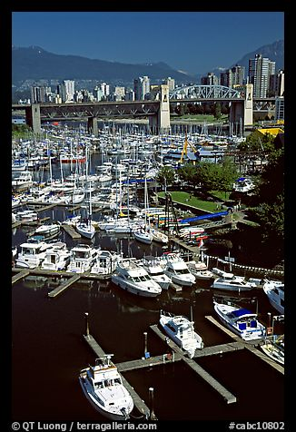 Small boat harbor on False Creek. Vancouver, British Columbia, Canada (color)