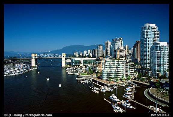 Burrard Bridge, harbor, and high-rise residential buildings. Vancouver, British Columbia, Canada (color)