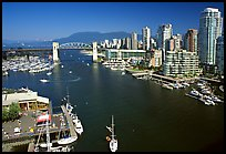 False Creek, Burrard Bridge, and high-rise  buildings see from Granville Bridge. Vancouver, British Columbia, Canada (color)