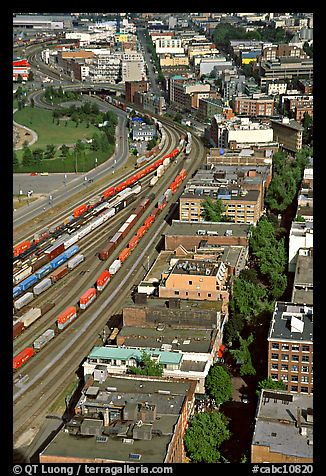 Downtown and railroad from above. Vancouver, British Columbia, Canada (color)