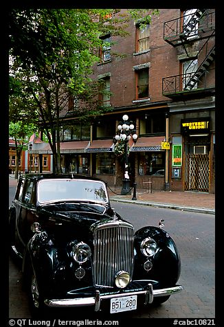 Classic car in Water Street. Vancouver, British Columbia, Canada (color)