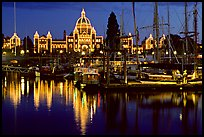Inner harbor at night. Victoria, British Columbia, Canada