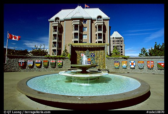 Confederation plazza with the shields of each of the Canadian provinces and territories. Victoria, British Columbia, Canada (color)