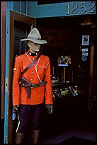 Mannequin representing a Canadian police at the entrance of a store. Victoria, British Columbia, Canada ( color)