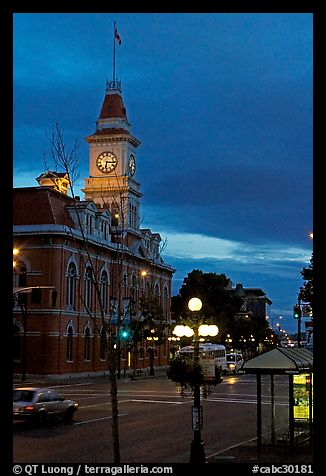 City Hall and Douglas Street at dawn. Victoria, British Columbia, Canada (color)