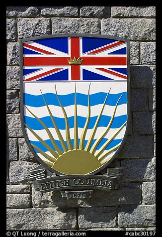 Shield of British Columbia Province. Victoria, British Columbia, Canada (color)