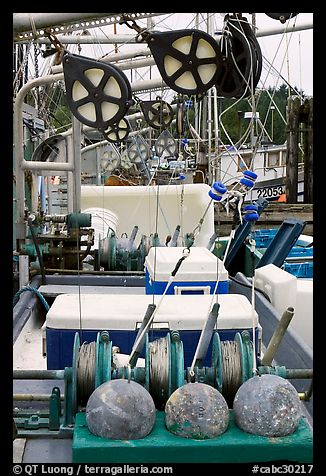 Fishing equipment on boat, Uclulet. Vancouver Island, British Columbia, Canada (color)