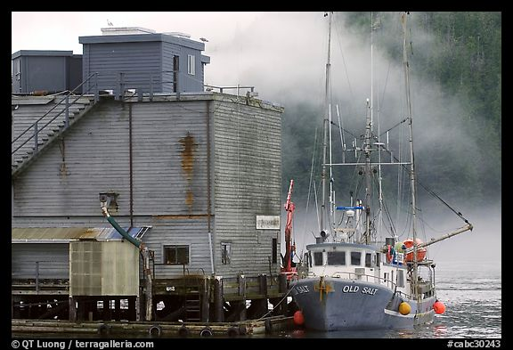 Commercial fishing boat next to a fishery, Tofino. Vancouver Island, British Columbia, Canada (color)