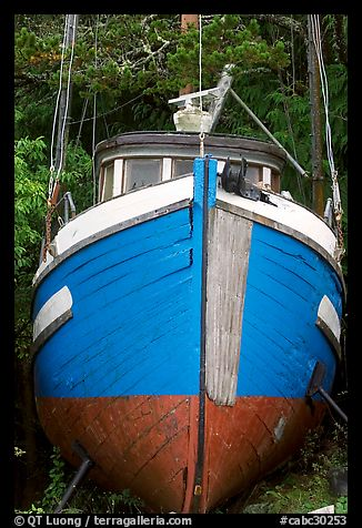 Prow of retired fishing boat. Vancouver Island, British Columbia, Canada (color)