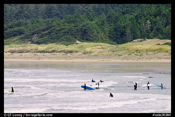 Surfers in Long Beach, the best surfing spot on Canada's west coast. Pacific Rim National Park, Vancouver Island, British Columbia, Canada (color)