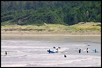 Surfers in Long Beach, the best surfing spot on Canada's west coast. Pacific Rim National Park, Vancouver Island, British Columbia, Canada