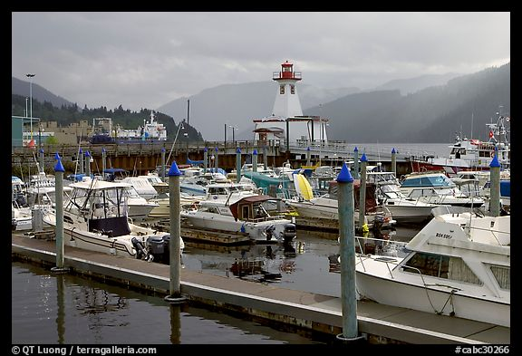 Yachts, harbour and lighthouse, Port Alberni. Vancouver Island, British Columbia, Canada (color)