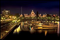 Inner harbor and parliament at night. Victoria, British Columbia, Canada (color)