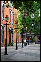Alley with street lamps, Bastion Square. Victoria, British Columbia, Canada
