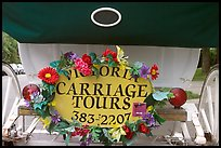 License plate of horse carriage car with flowers. Victoria, British Columbia, Canada (color)