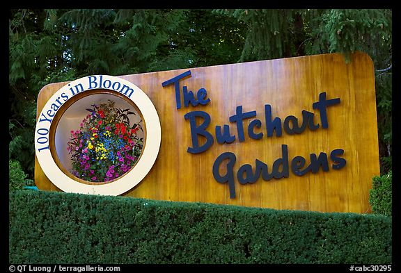 Entrance sign of Butchard Gardens. Butchart Gardens, Victoria, British Columbia, Canada (color)