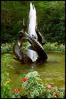 Three Sturgeons Fountain, with sculptures cast by Sirio Tofanari. Butchart Gardens, Victoria, British Columbia, Canada (color)
