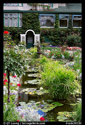 Pond in Italian Garden and Dining Room. Butchart Gardens, Victoria, British Columbia, Canada (color)