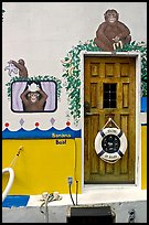Door of houseboat decorated with a monkey theme. Victoria, British Columbia, Canada ( color)
