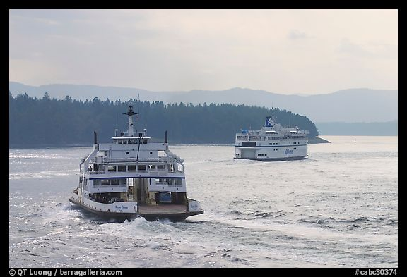 Ferries in the San Juan Islands. Vancouver Island, British Columbia, Canada (color)