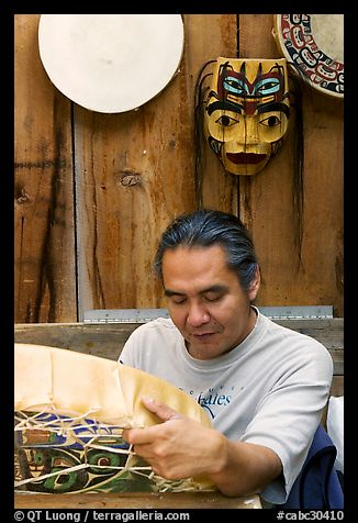 First nations carver. Vancouver, British Columbia, Canada (color)