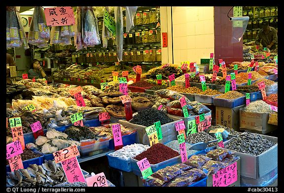 Chinese medicinal goods in Chinatown. Vancouver, British Columbia, Canada (color)