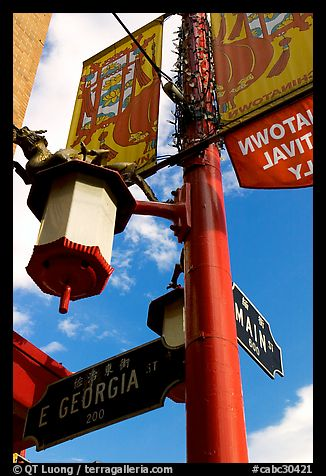 Street names in English and Chinese, Chinatown. Vancouver, British Columbia, Canada (color)