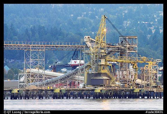 Industrial installations in harbor. Vancouver, British Columbia, Canada (color)