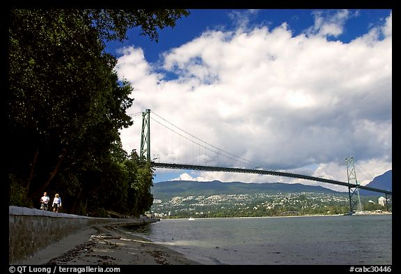 Lions Gate Bridge across Burrard Inlet. Vancouver, British Columbia, Canada (color)