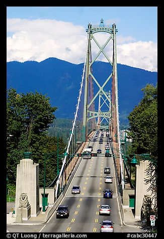 Lions Gate Bridge, mid-day. Vancouver, British Columbia, Canada (color)