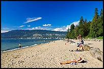Woman sunning herself on a beach, Stanley Park. Vancouver, British Columbia, Canada