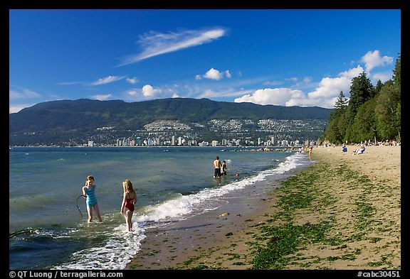 Girls playing in water, Stanley Park. Vancouver, British Columbia, Canada (color)