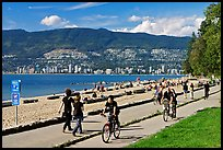 Bicyclists, and walkers,  Stanley Park. Vancouver, British Columbia, Canada (color)