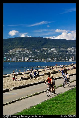 Bicyclists, Stanley Park. Vancouver, British Columbia, Canada (color)
