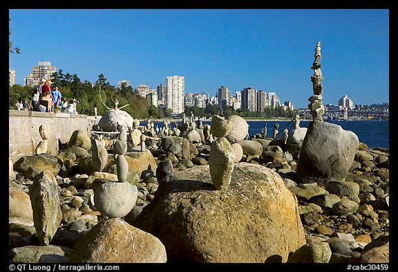 Balanced rocks and skyline, Stanley Park. Vancouver, British Columbia, Canada (color)