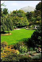 Lawn and Bloedel conservatory, Queen Elizabeth Park. Vancouver, British Columbia, Canada (color)
