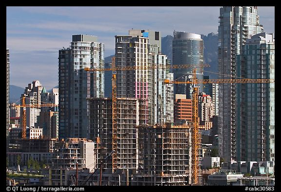 Skyline and  towers in construction. Vancouver, British Columbia, Canada (color)