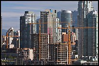 Skyline and  towers in construction. Vancouver, British Columbia, Canada ( color)