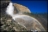 Rainbow at the base of Takakkaw Falls, late afternoon. Yoho National Park, Canadian Rockies, British Columbia, Canada (color)
