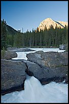 Natural Bridge and Mount Stephens, sunset. Yoho National Park, Canadian Rockies, British Columbia, Canada