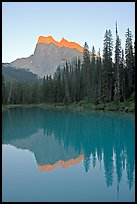 Mount Burgess reflected in Emerald Lake, sunset. Yoho National Park, Canadian Rockies, British Columbia, Canada ( color)