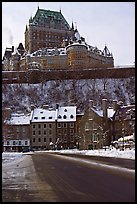 Chateau Frontenac on an overcast winter day, Quebec City. Quebec, Canada