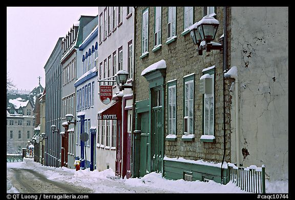 Street in winter with snow on the curb, Quebec City. Quebec, Canada (color)