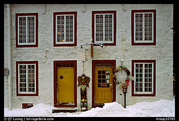 Facade in winter with snow on the curb,  Quebec City. Quebec, Canada (color)