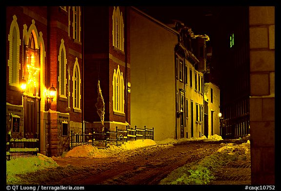 Street at night in winter, Quebec City. Quebec, Canada (color)