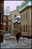 Man walking in a street in winter, Quebec City. Quebec, Canada ( color)