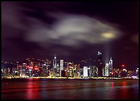Hong-Kong Island skyline from the waterfront promenade by night. Hong-Kong, China ( color)