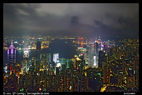 City lights from Victoria Peak by night. Hong-Kong, China