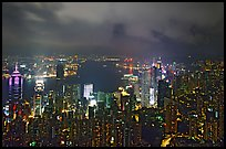City lights from Victoria Peak by night. Hong-Kong, China ( color)